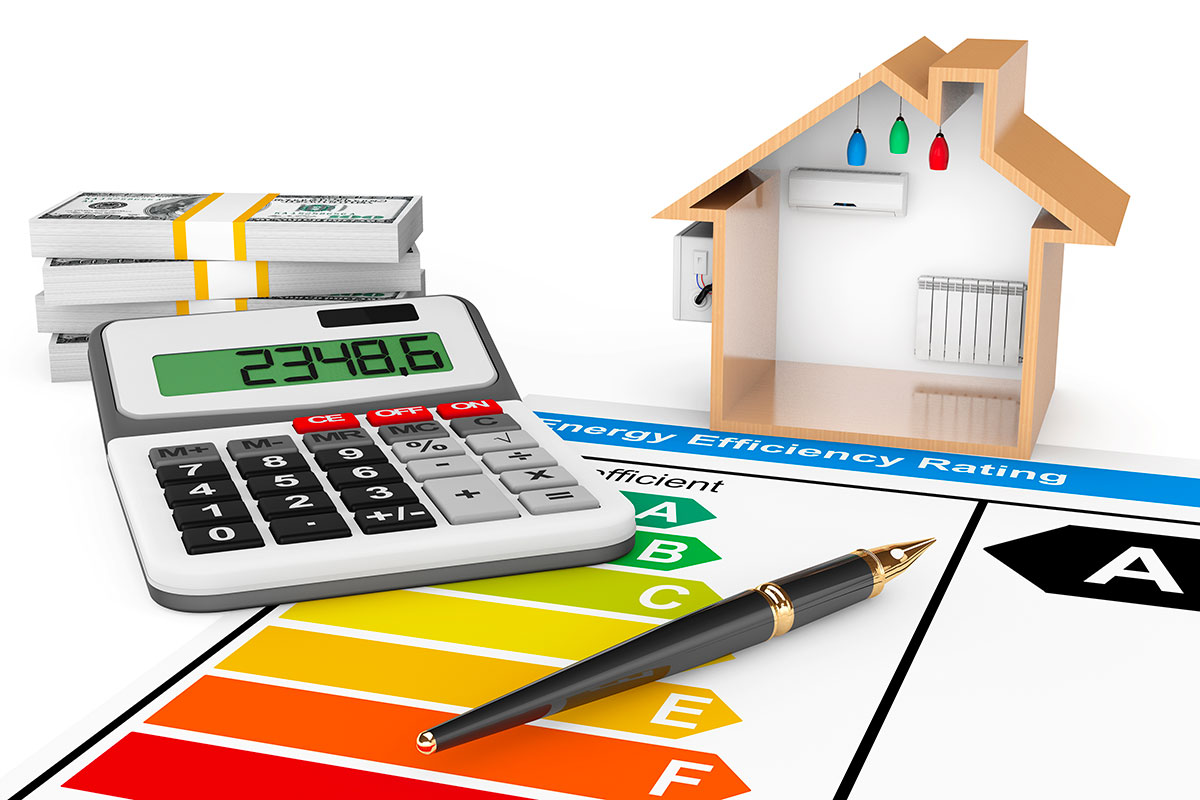 energy-efficiency-rating-with-house-on-white-background